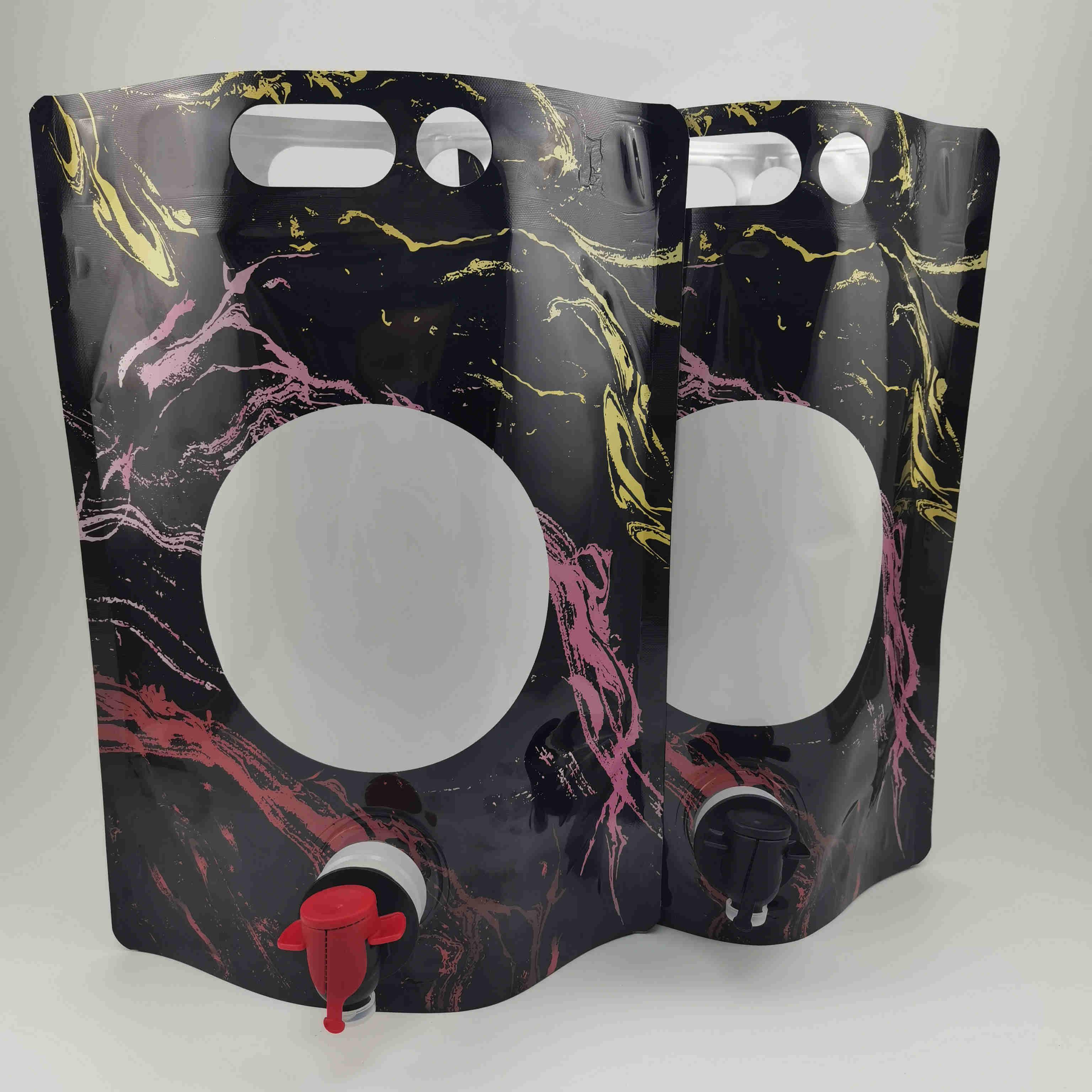 红酒白酒BIB盒中袋红酒双插底自立吸嘴袋蝶阀铝箔自立袋可定做