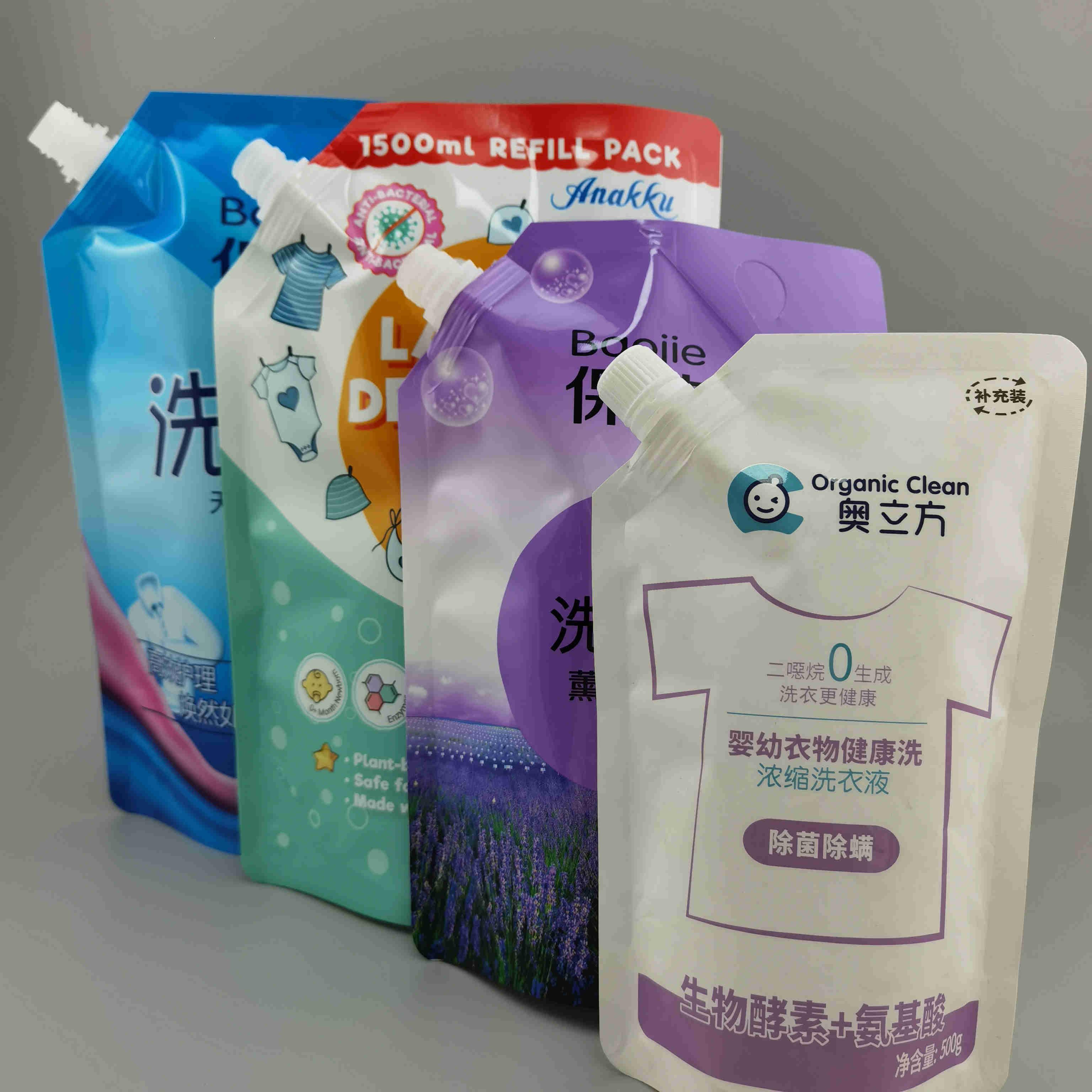 厂家生产1-1000ML洗衣液包装袋 洗衣液袋子自立吸嘴袋 彩印